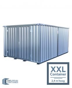 3x2 container verhoogd. Hoge container die 2,40 meter hoog is. Demontabele container perfect als opslagcontainer of als tuinhuis. Deze zeecontainer is ook goed te gebruiken als opslagbox of containerschuur.